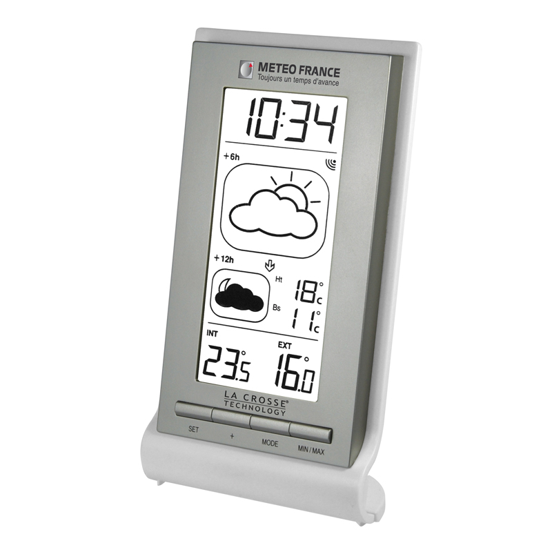 Station Météo France LA CROSSE TECHNOLOGY WD2123 BLANC ARGENT - BLISTER. WD2123IT-WHI-S