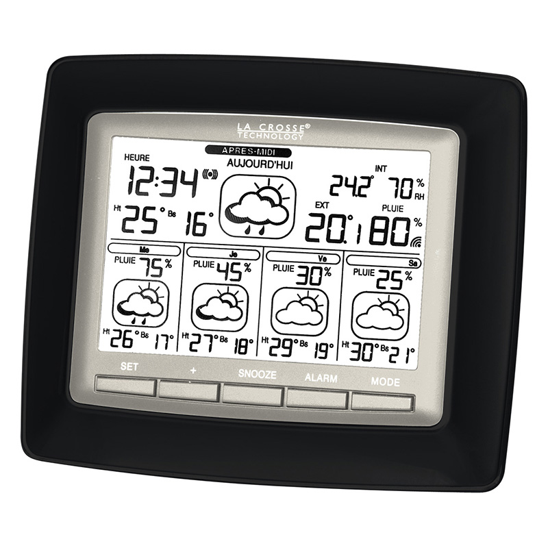 Station Starmétéo LA CROSSE TECHNOLOGY WD6006 NOIR ARGENT. WD6006F-IT-BL-S