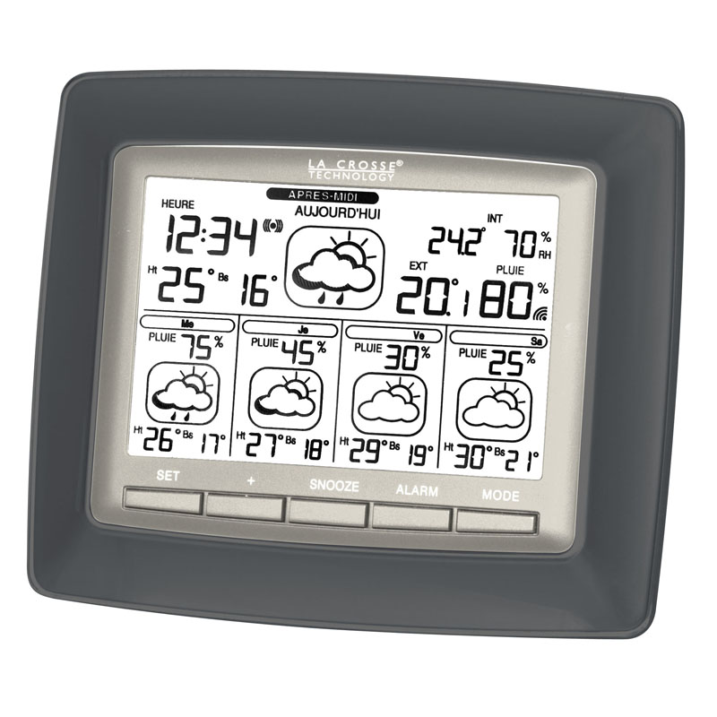 Station Starmétéo LA CROSSE TECHNOLOGY WD6006 METAL GRIS ARGENT. WD6006F-IT-MG-S