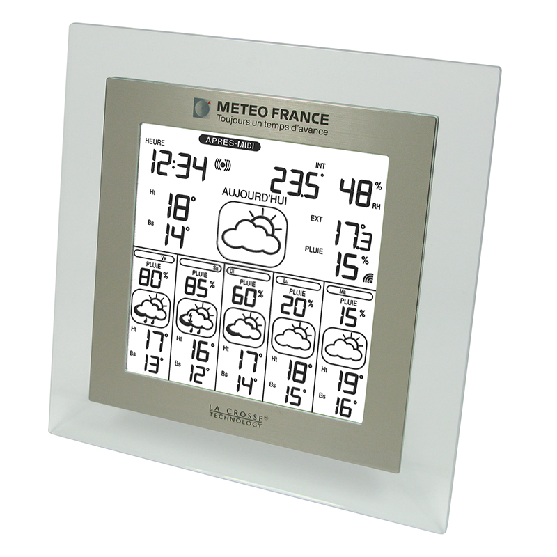 Station Météo France WD6007 TRANSPARENT ALUMINIUM. WD6007IT-TRA-A