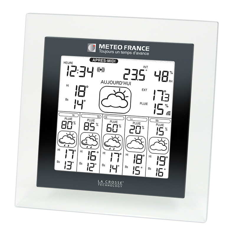 Station Météo France WD6007 TRANSPARENT NOIR. WD6007IT-TRA-B