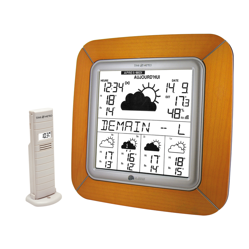 Station Starmétéo LA CROSSE TECHNOLOGY WD9005 BOIS CLAIR ARGENT. WD9005IT-MAC-S