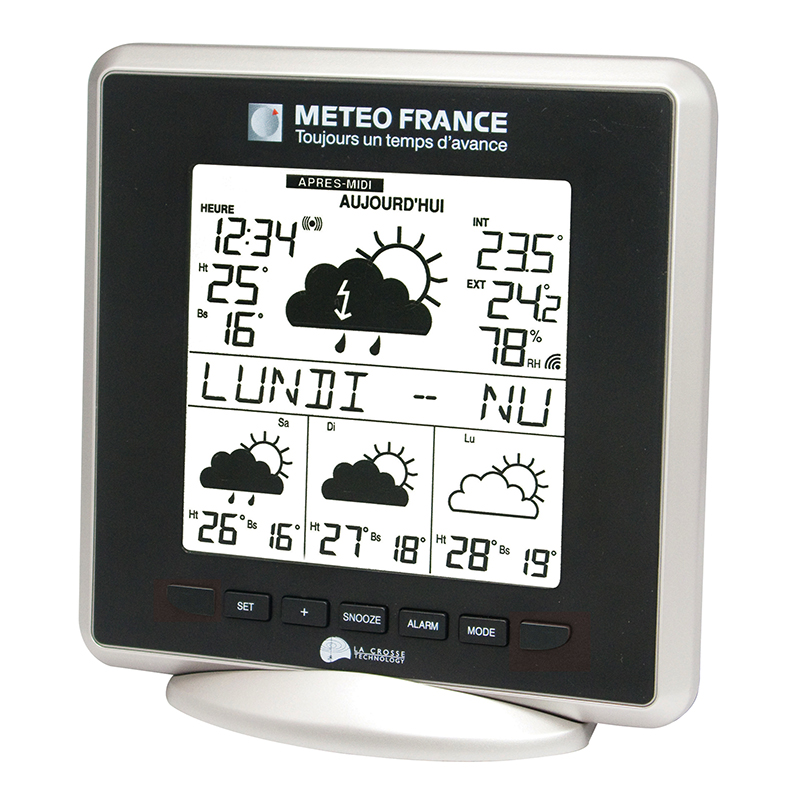 Station Météo France LA CROSSE TECHNOLOGY WD9520 ARGENT NOIR. WD9520F-IT-S-BL