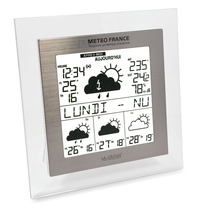 Station Météo France WD9521 TRANSPARENT ALUMINIUM. WD9521IT-TRA-A