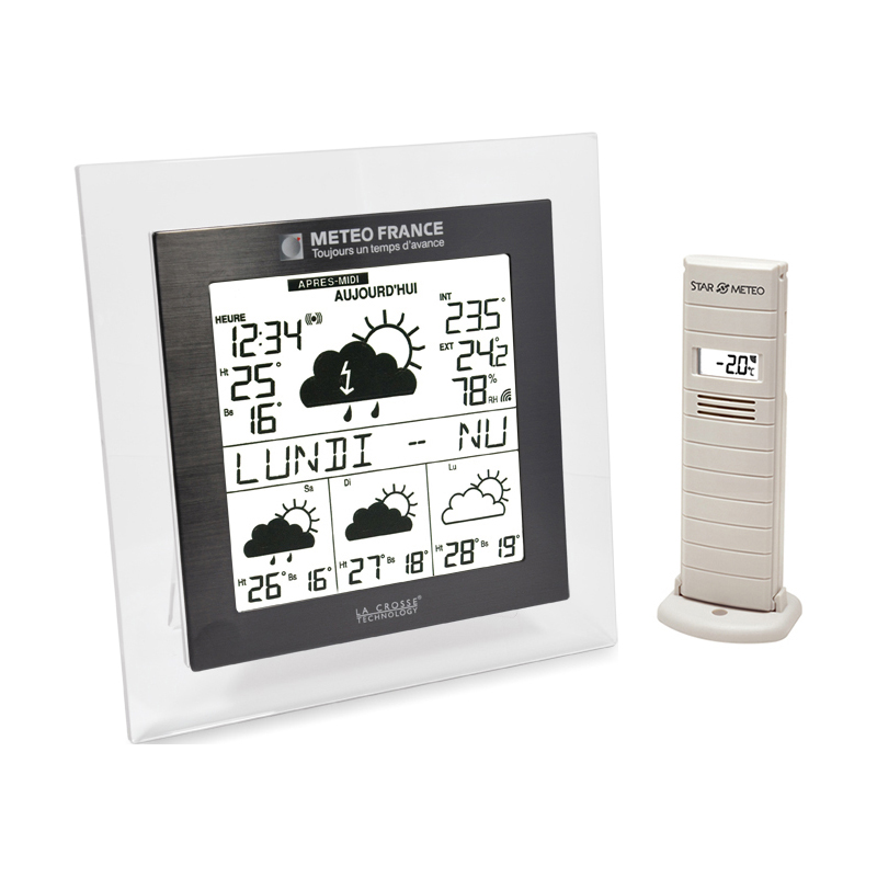 Station Météo France LA CROSSE TECHNOLOGY WD9521 TRANSPARENT NOIR. WD9521IT-TRA-B