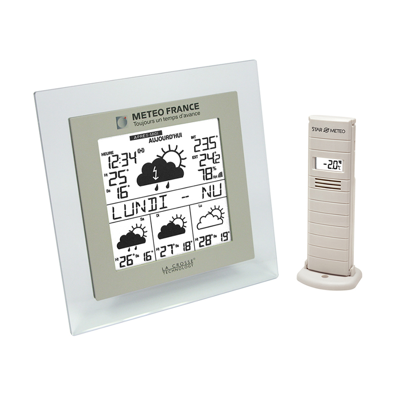 Station Météo France WD9521 TRANSPARENT TAUPE. WD9521IT-TRA-T