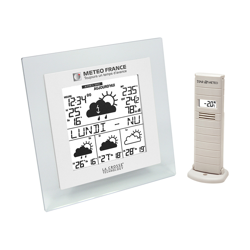 Station Météo France WD9521 TRANSPARENT BLANC. WD9521IT-TRA-W