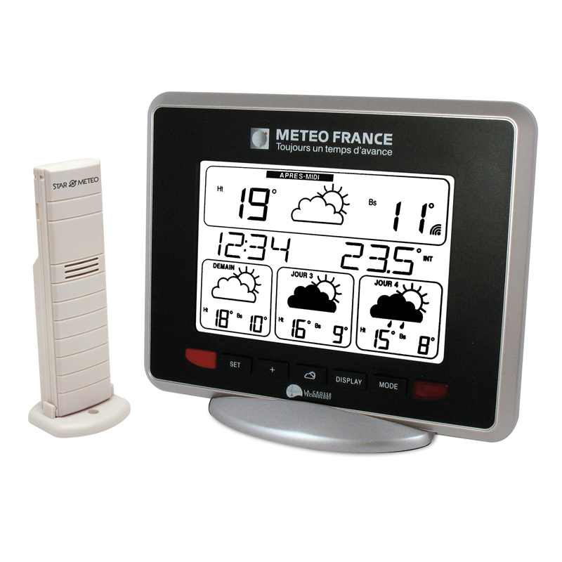 Station Météo France LA CROSSE TECHNOLOGY WD9530 ARGENT NOIR. WD9530F-IT-S-BL