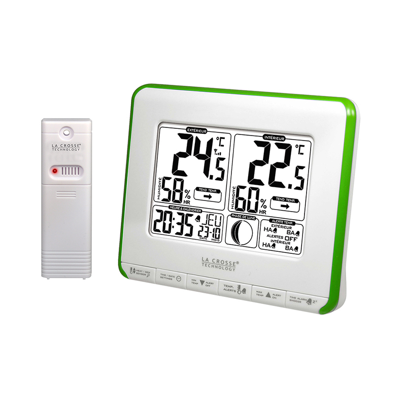 Station Température LA CROSSE TECHNOLOGY WS6812 BLANC VERT. WS6812W-GREEN