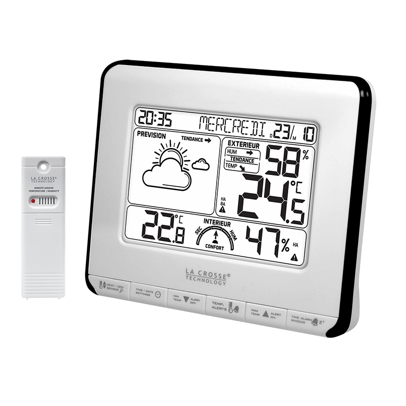 Station Météo simple LA CROSSE TECHNOLOGY WS6818 BLANC NOIR. WS6818WHI-BLA