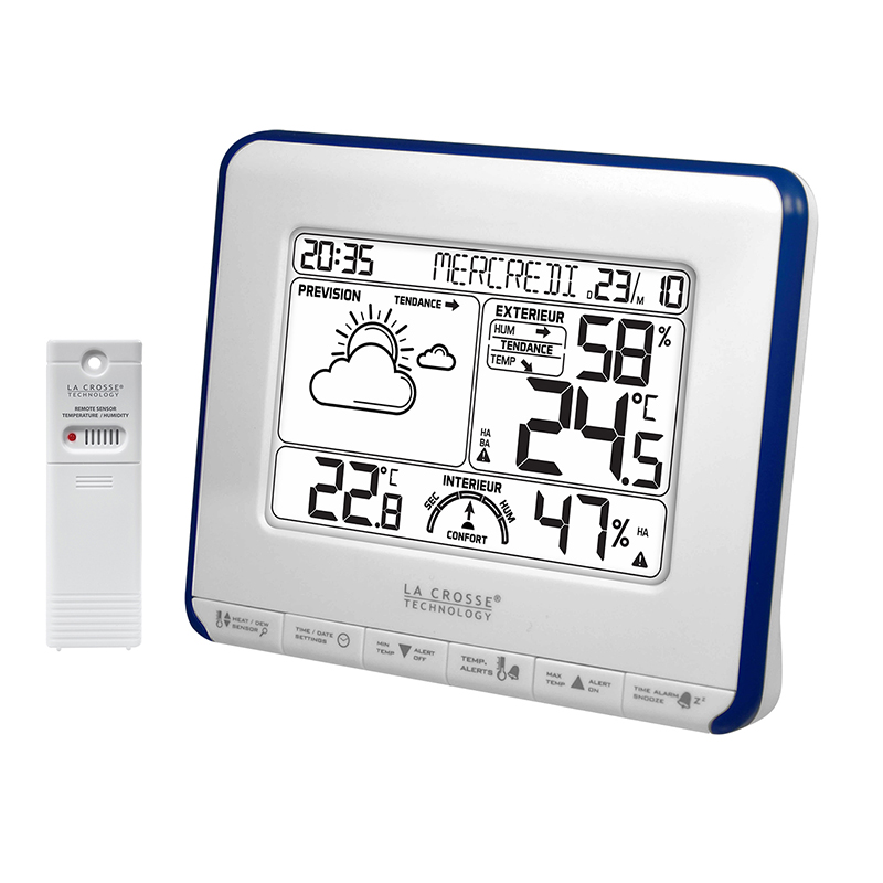 Station Météo simple LA CROSSE TECHNOLOGY WS6818 BLANC BLEU. WS6818WHI-BLU