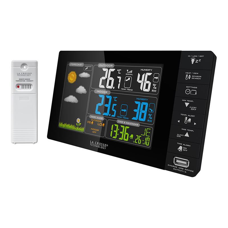 Station météo colorée LA CROSSE TECHNOLOGY WS6827 noir avec alertes de température et port USB. WS6827-BLA