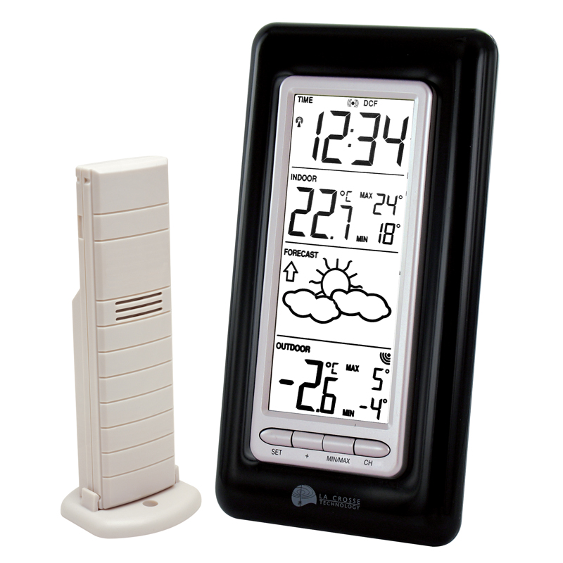 Station Météo simple LA CROSSE TECHNOLOGY WS9132 NOIR ARGENT. WS9132IT-B-SIL