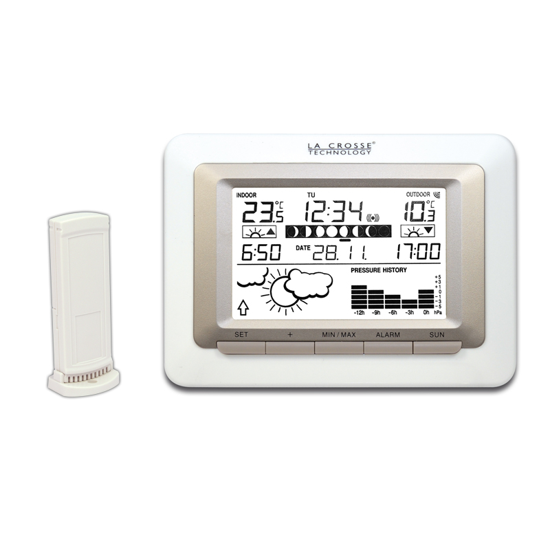 Station Météo simple WS9250IT BLANC ARGENT. WS9250IT-WHI-S