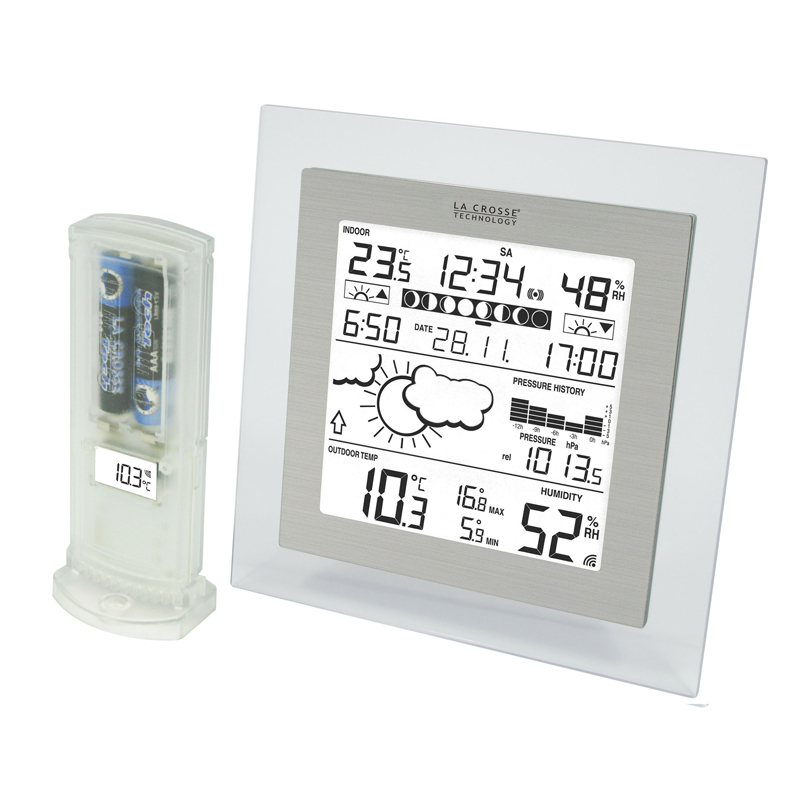 Station Météo simple WS9257 TRANSPARENT ALUMINIUM. WS9257IT-TRA-A