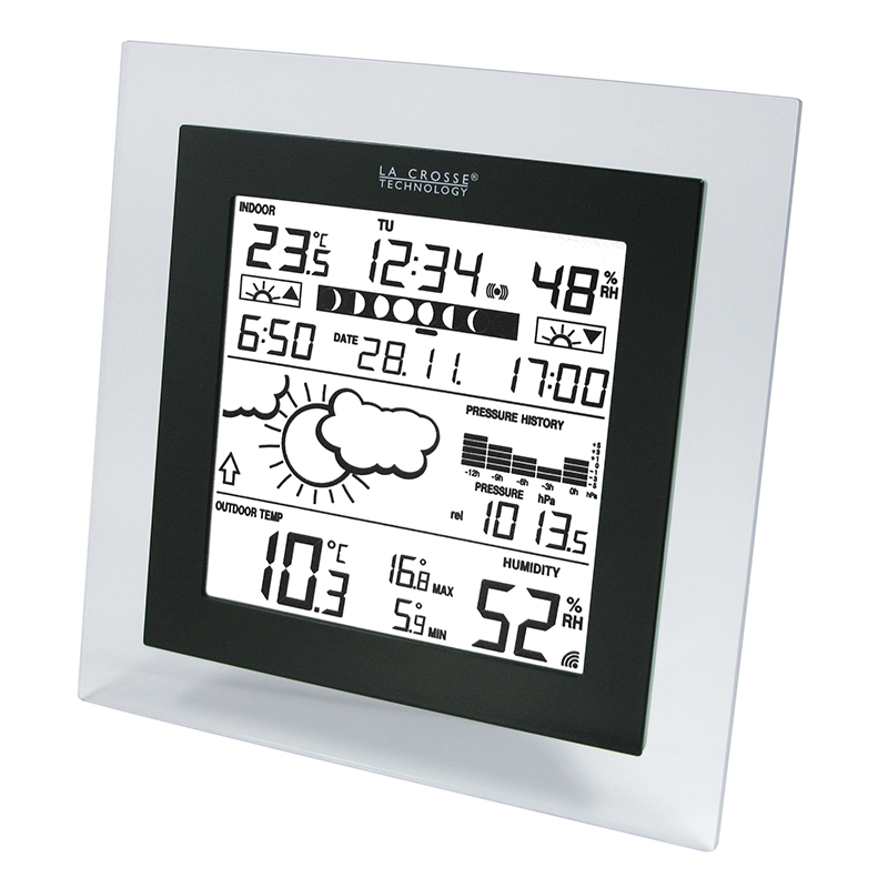 Station Météo simple WS9257 TRANSPARENT NOIR. WS9257IT-TRA-B